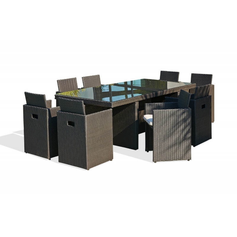 Salon de jardin 8 fauteuils encastrables noir - Le Rêve Chez Vous