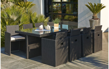 Salon de jardin résine tressée table et 8 fauteuils