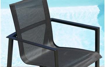 Fauteuil Miami en textilène et aluminium noir