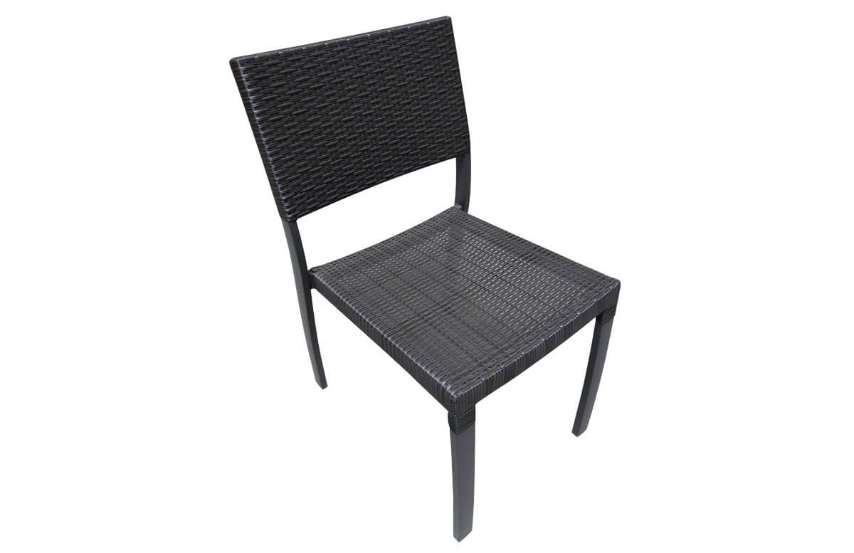 Chaise aluminium et résine tressée noire