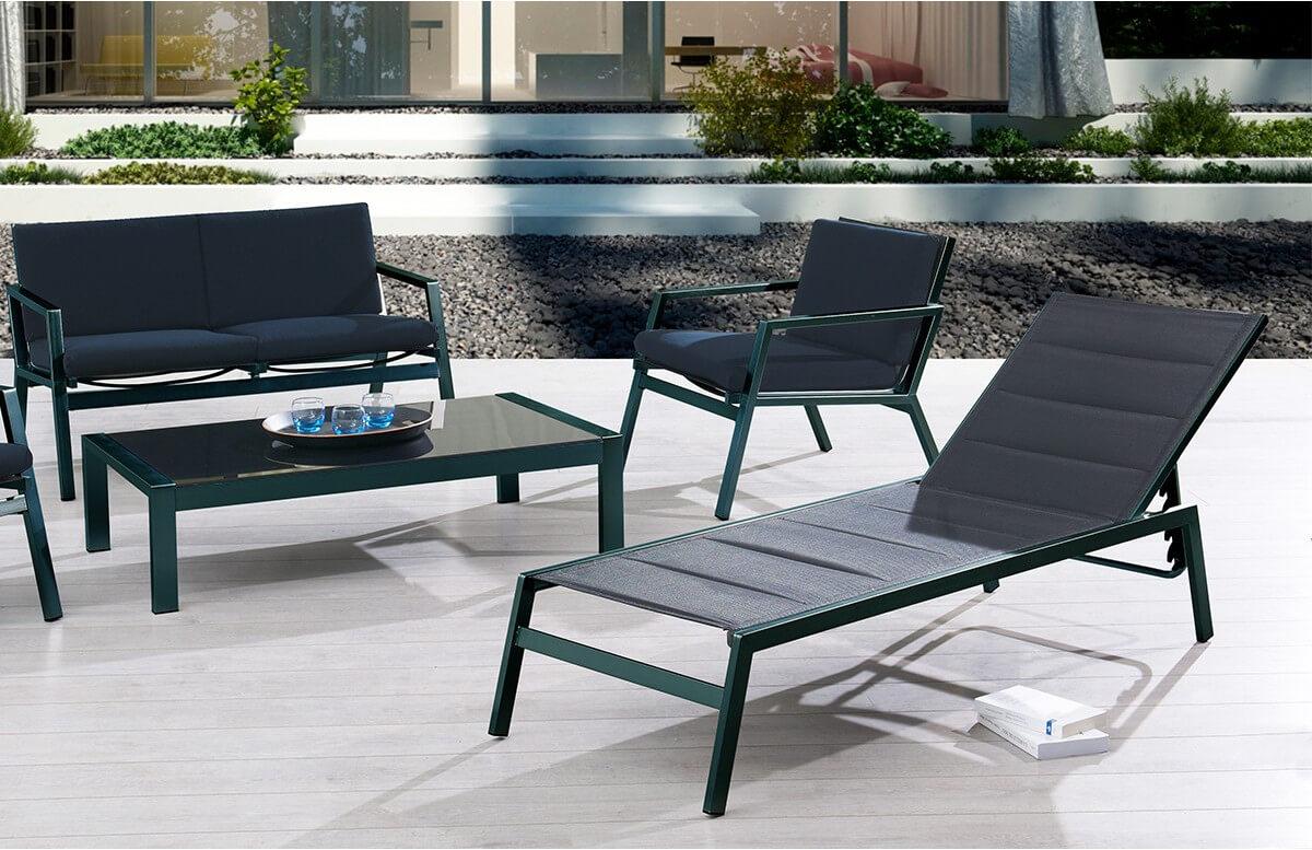 Bain de soleil chaise longue noire