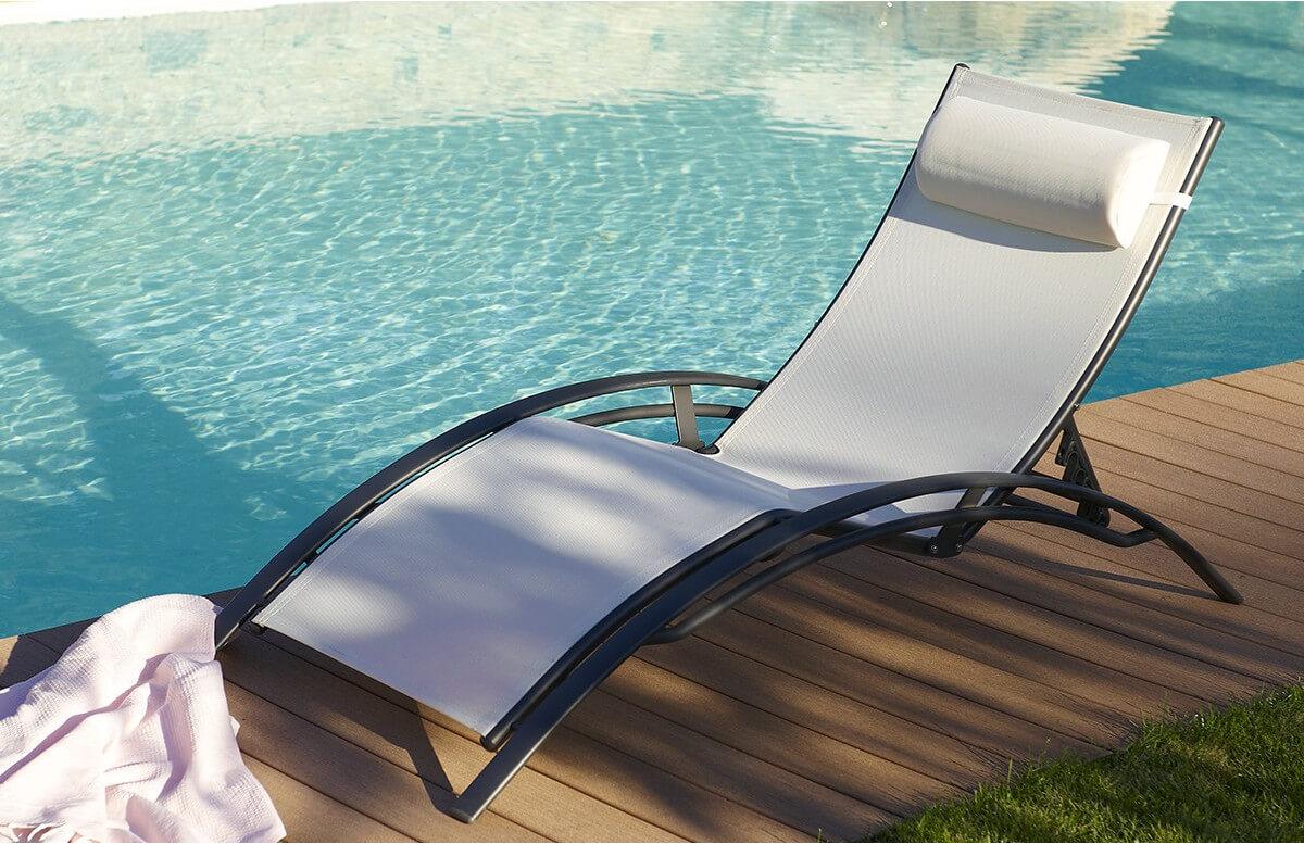 Bain de soleil aluminium noir textilène BLANC multi positions