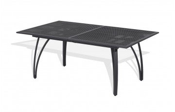 Table aluminium perforée rallonge papillon 180/240cm coloris gris