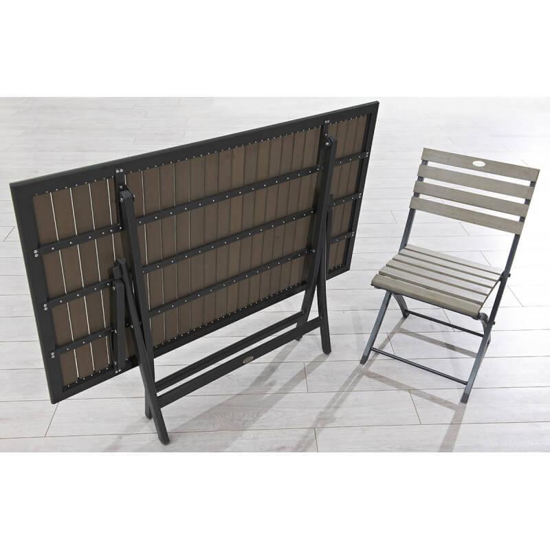 Table aluminium et bois composite clair - Le Rêve Chez Vous