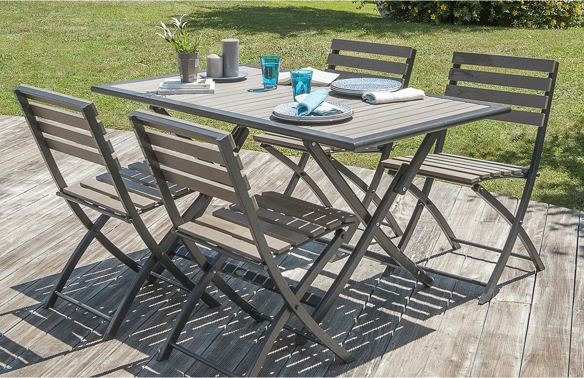 Ensemble Table et 4 Chaises Pliantes en bois composite et acier