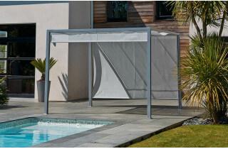 Pergola design tonnelle aluminium brise soleil 3x3m textilène gris
