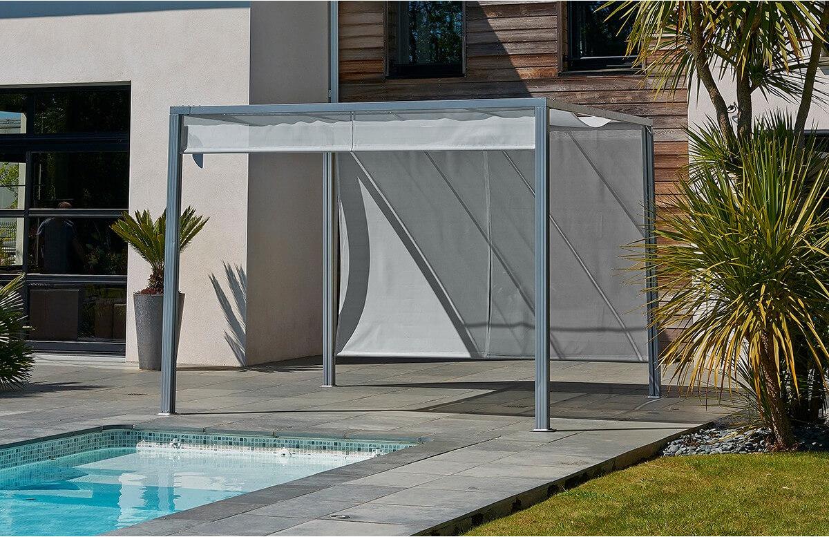 Pergola design tonnelle aluminium brise soleil grise