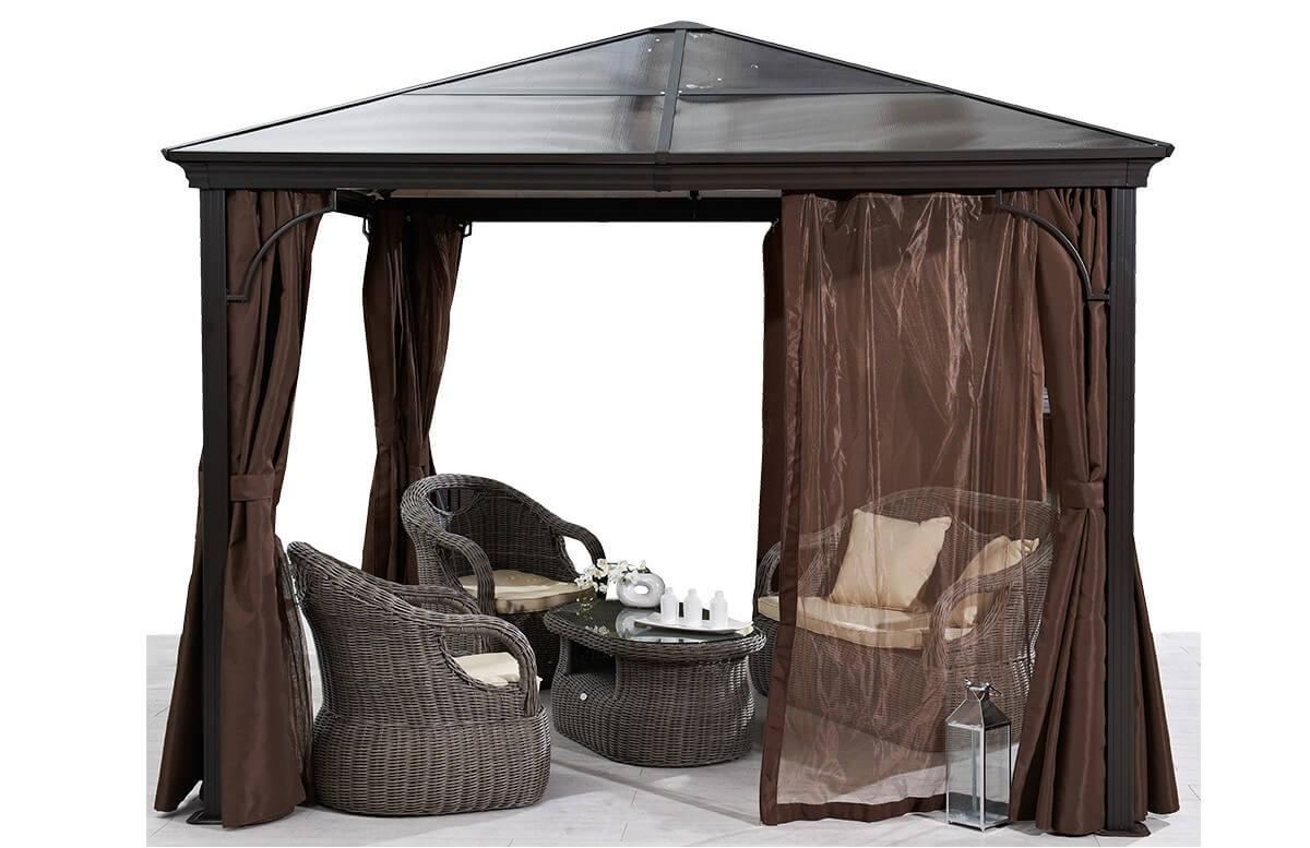Pergola design avec toit rigide moka