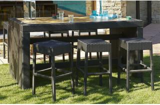 Ensemble table bar + 6 tabourets en résine tressée et bois composite