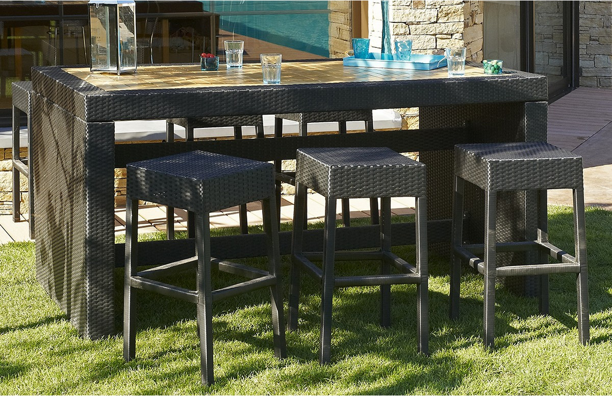Ensemble Table Bar avec 6 tabourets