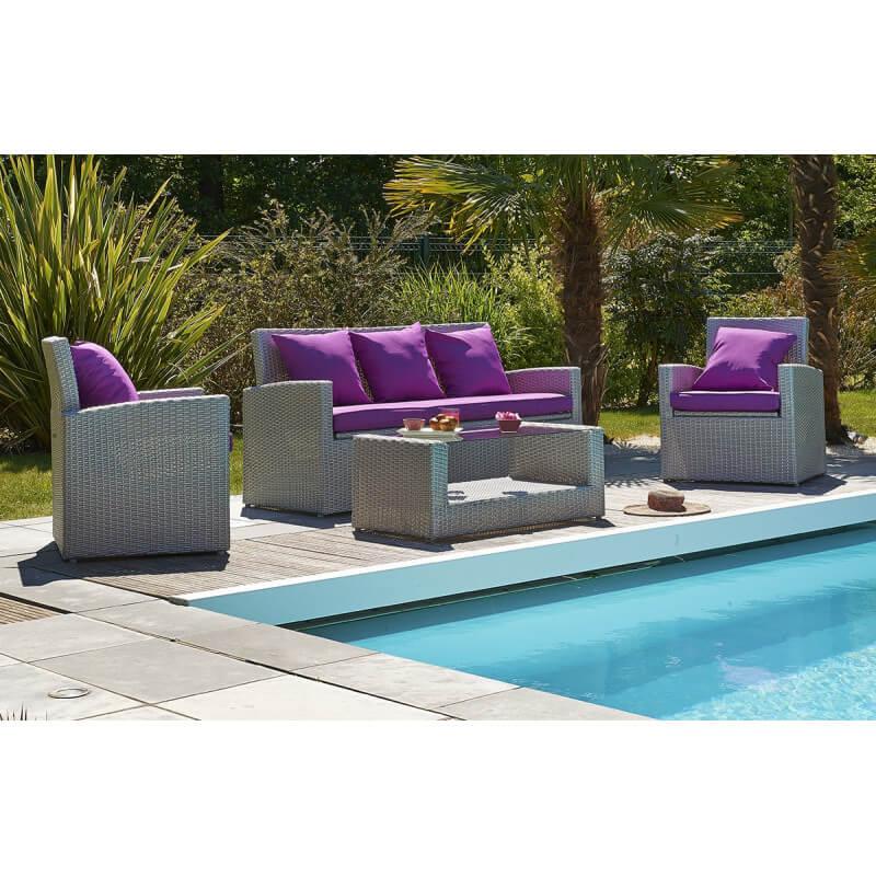 Salon de jardin 5 places avec table basse, canapé et 2 fauteuils ...