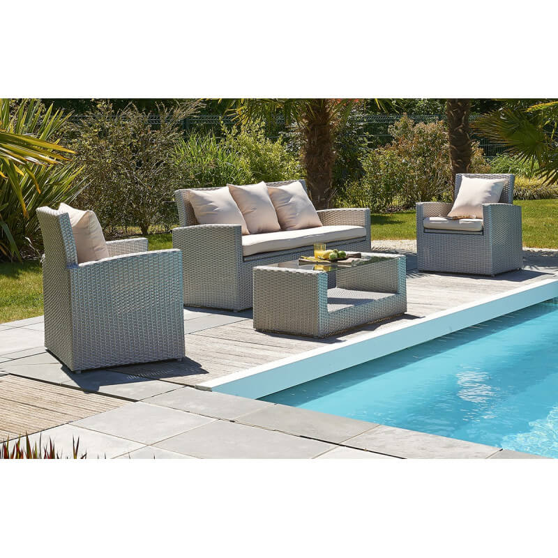 Salon de jardin 5 places gris et fuschia pvc med for Salon jardin pvc gris