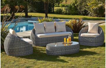 Salon de jardin ISA avec banquette 3 places 2 fauteuils et 1 table basse