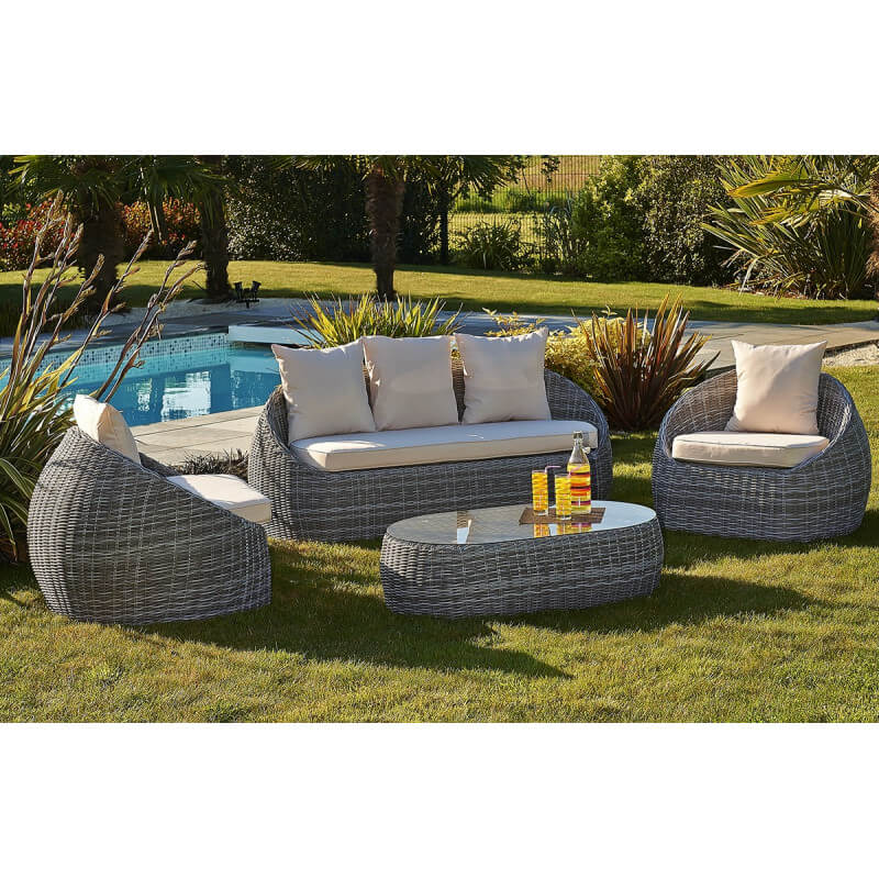 salon de jardin banquette 3 places 2 fauteuils et 1 table basse le r ve chez vous. Black Bedroom Furniture Sets. Home Design Ideas
