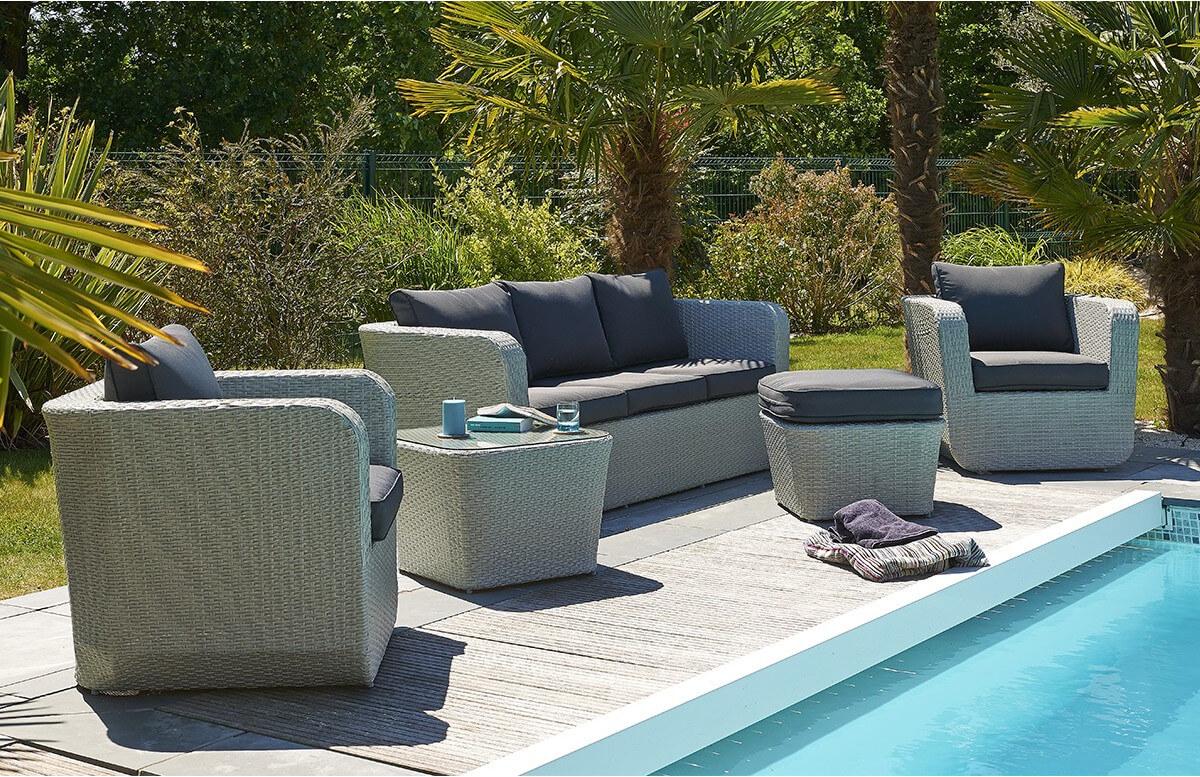 Salon de jardin 6 places en résine tressée grise - Le Rêve Chez Vous