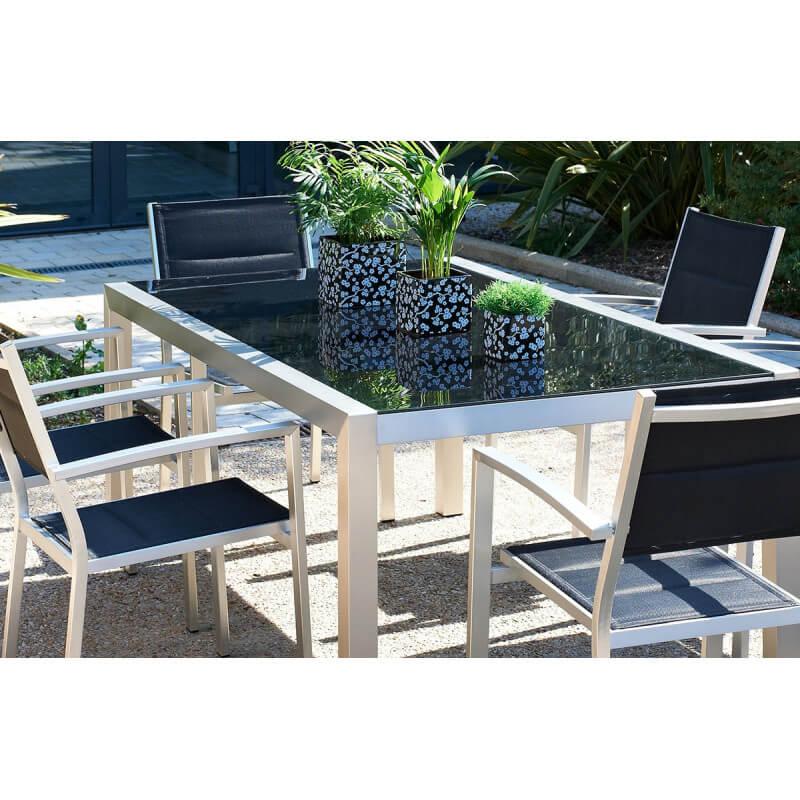 Table de jardin aluminium et verre des - Table jardin alu et verre ...