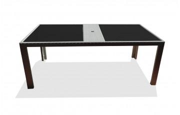 Table fixe en résine tressée 200X100cm gris ivoire