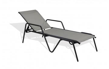 Bain de soleil ZEN en textilène gris et aluminium noir