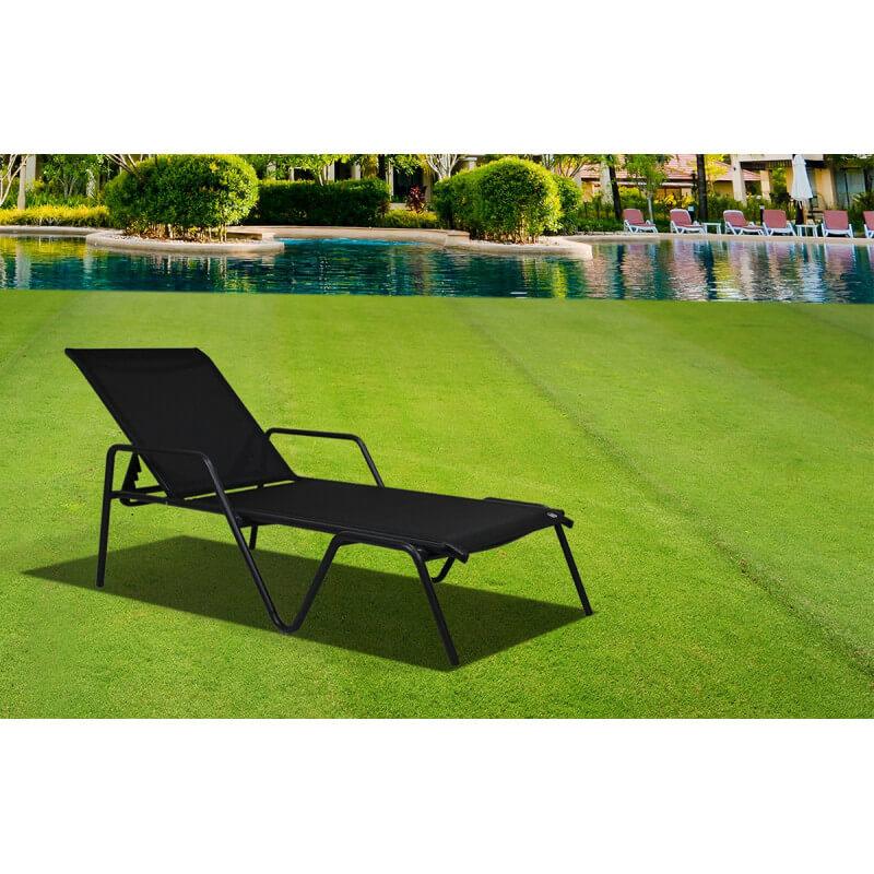 bain de soleil en textil ne et aluminium noir le r ve chez vous. Black Bedroom Furniture Sets. Home Design Ideas