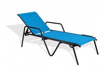 Bain de soleil ZEN en textilène turquoise et aluminium noir