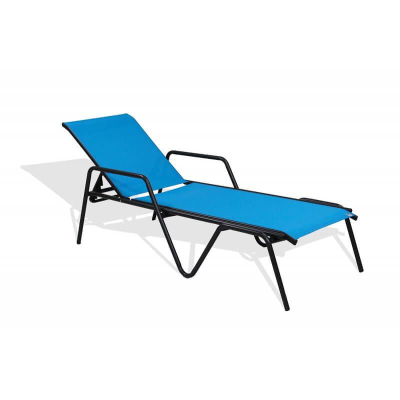 bain de soleil en textil ne turquoise et aluminium noir. Black Bedroom Furniture Sets. Home Design Ideas