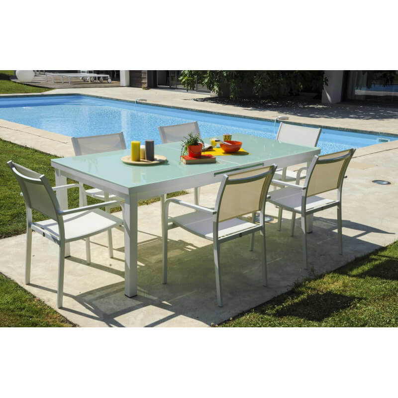 table de jardin aluminium avec rallonge blanc jsscene. Black Bedroom Furniture Sets. Home Design Ideas