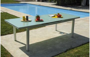 Table ALGA avec rallonge intégrée en verre et aluminium blanc