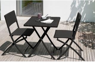 Guéridon de jardin + 2 chaises assorties en résine tressée noire