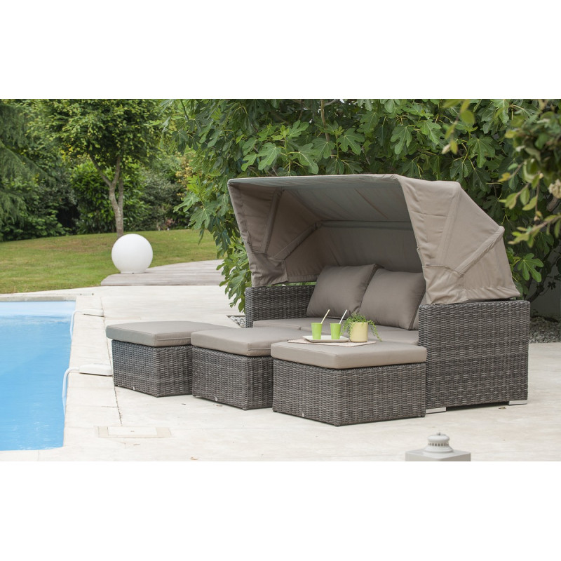Salon en r sine tress e demi ronde 3 5 places le r ve for Petit salon de jardin resine