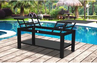 Table basse de jardin ELYTRE noire 120X70cm