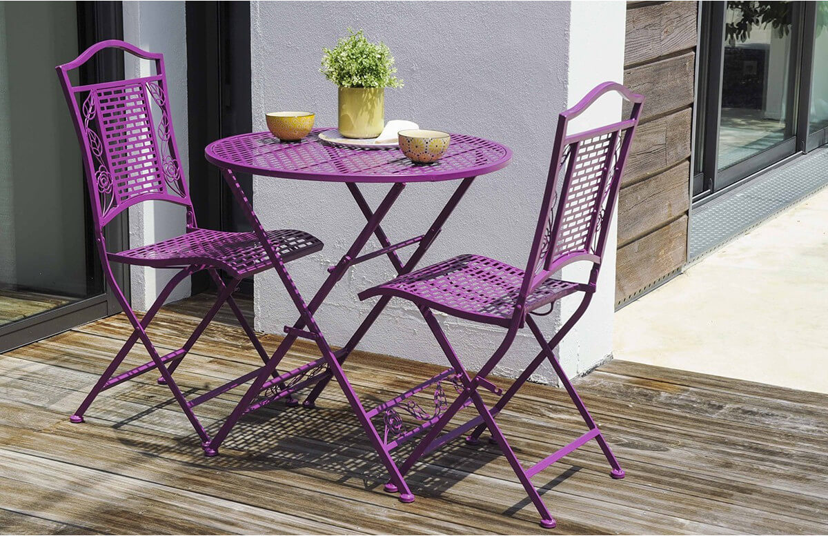 Ensemble FLORA violet 1guéridon + 2 chaises pliantes