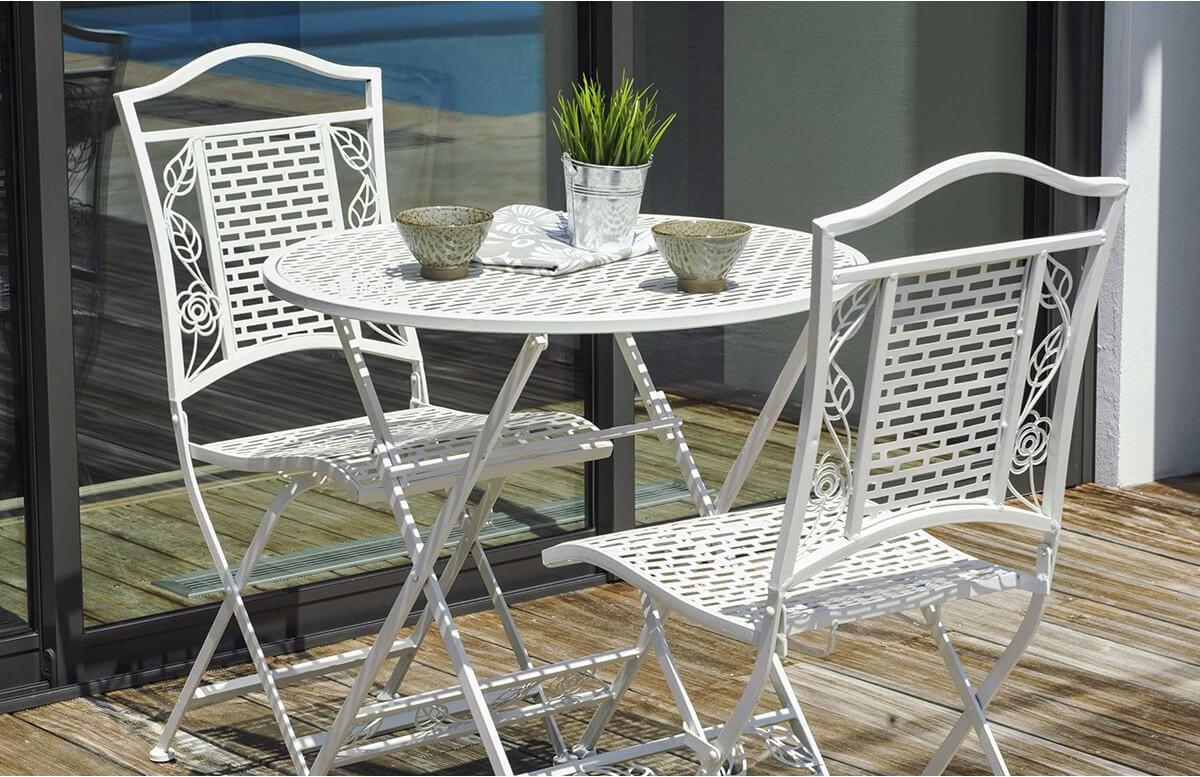 Ensemble FLORA blanc 1 guéridon + 2 chaises pliantes