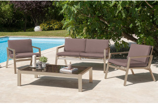 Salon de jardin bas en aluminium et textilène brun