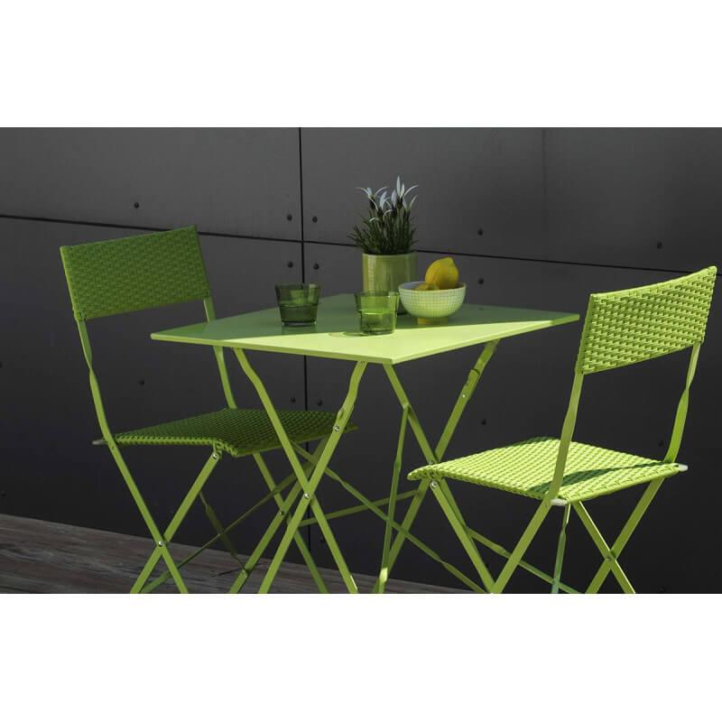 Ensemble guéridon de Jardin avec 2 chaises pliantes - Le Rêve Chez Vous