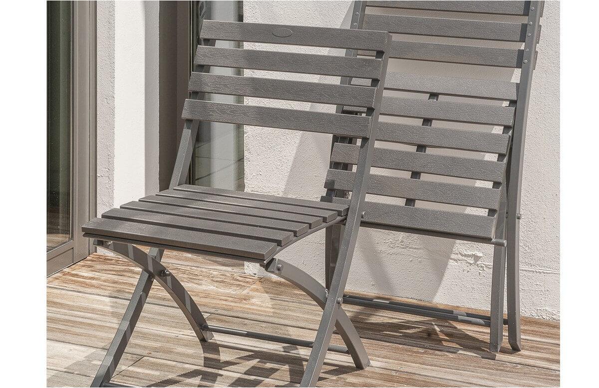 Chaise pliante aluminium gris anthracite