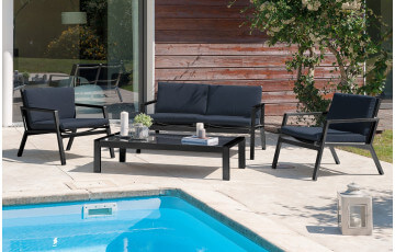Salon de jardin bas en aluminium et textilène noir
