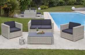 Salon de jardin design bas en résine tressée Paris Garden 4 places gris OCEANE