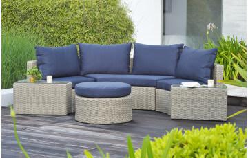 Salon de jardin : banquette 3 places + 2 fauteuils et 1 table basse ...