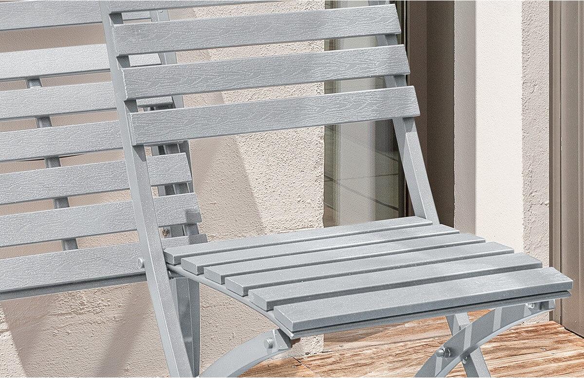 Chaise pliante aluminium gris galet