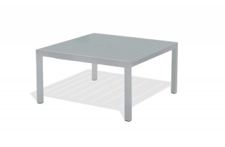Table carrée en aluminium coloris gris galet
