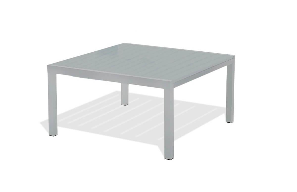 Table carrée en aluminium gris galet
