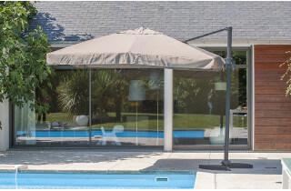 Parasol de jardin déporté inclinable 3x3 DCB Garden P-04-TAUPE