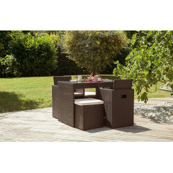 Salon de jardin design encastrable 2 places DCB Garden en résine tressée chocolat PVC2