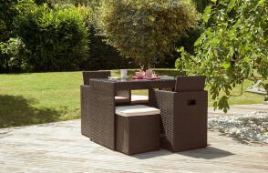 Salon de jardin design encastrable 2 places DCB Garden en résine tressée chocolat PVC2