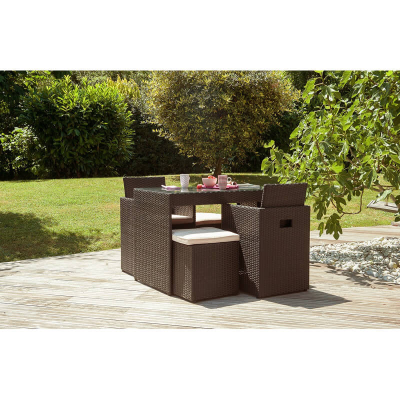 salon de jardin 2 places en r sine tress e chocolat le r ve chez vous. Black Bedroom Furniture Sets. Home Design Ideas