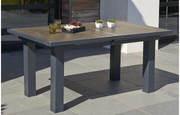 Table en aluminium composite 160/220/100cm lames foncées
