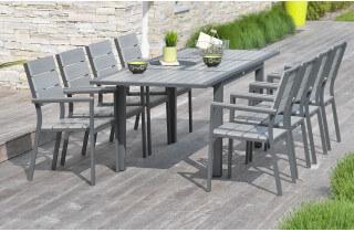 Table en aluminium compo lames grise 160/240/80cm