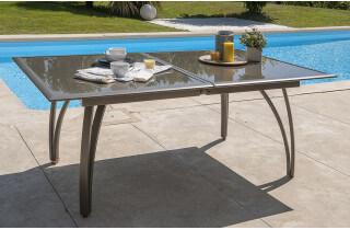 Table en aluminium plateau verre fumé rallonge papillon 180/240cm cappuccino