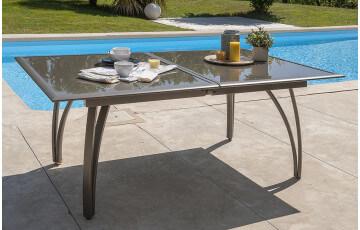 Table de jardin extensible aluminium et plateau en verre pour 8 personnes DCB Garden CAPPUCCINO