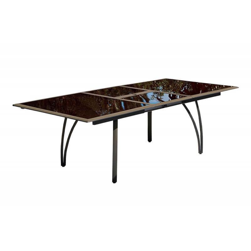Table aluminium avec plateau verre fumé Cappuccino - Le Rêve Chez Vous